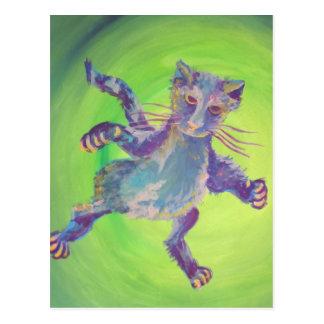 postal del gato azul que vuela