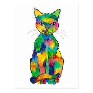 Postal del gato del arco iris