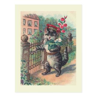 """Postal Postal del gato del vintage """"del cartero"""""""