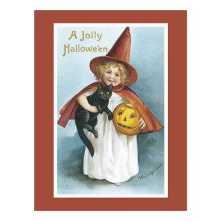 Postal del gato negro de la bruja de Halloween del