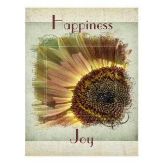 Postal del girasol de la felicidad y de la alegría