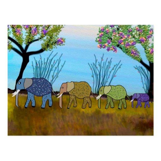 Postal del hábitat del elefante
