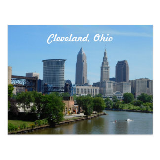 Postal del horizonte de Cleveland, el río Ohio