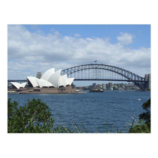 Postal del horizonte del puerto de Sydney