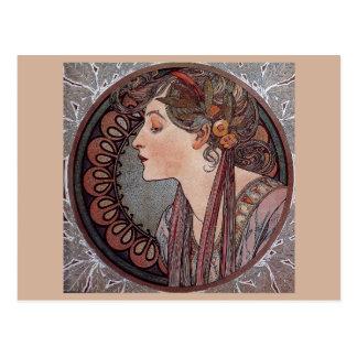 Postal del laurel de la mujer del nouveau del arte