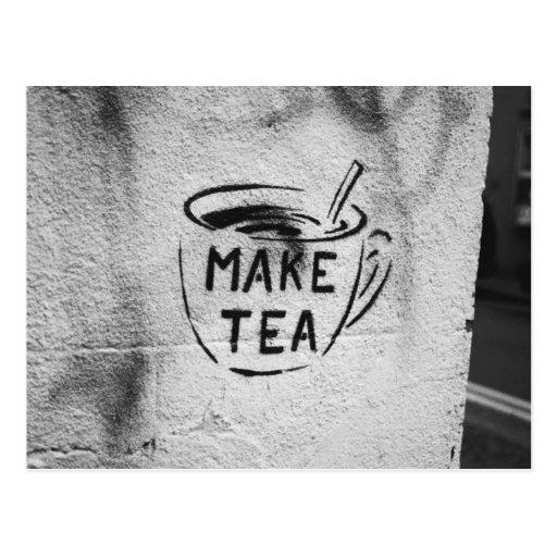 postal del lema del té del arte de la plantilla de