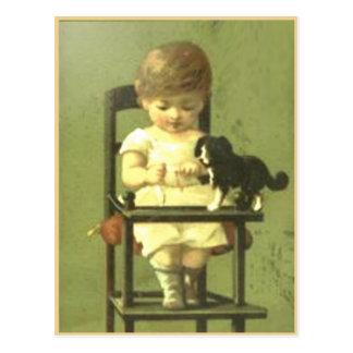Postal del libro del pedazo del vintage con el beb