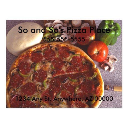 Postal del lugar de la pizza