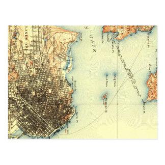 Postal del mapa de Alcatraz San Francisco del vint