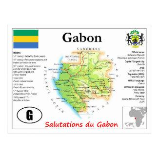 Postal del mapa de Gabón