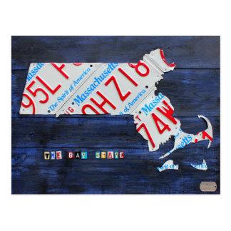 Postal del mapa de la placa de Massachusetts