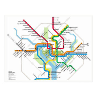Postal del mapa de Washington D.C. Metro Subway