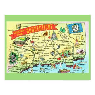 Postal del mapa del estado de Connecticut