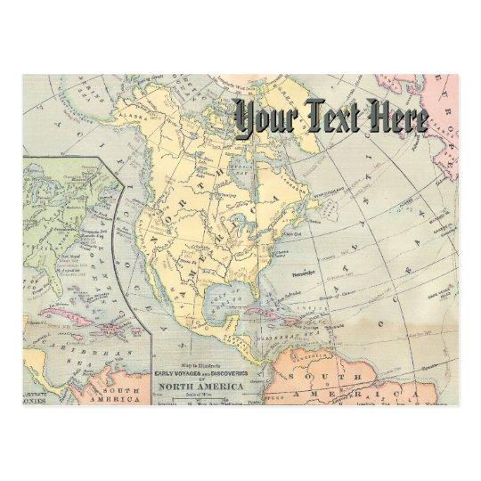 Postal del mapa del vintage