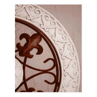 postal del medallón del Sepia-tono