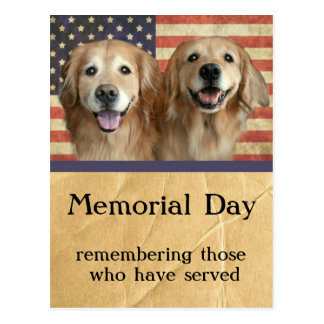 Postal del Memorial Day del golden retriever