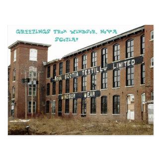 Postal del molino de materias textiles de Windsor,