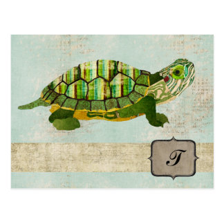 Postal del monograma de la tortuga del jade