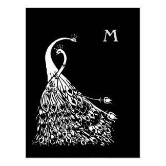 Postal del monograma de los pares de los pavos