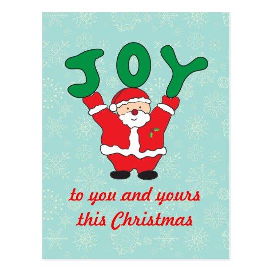 Postal del navidad de la alegría de Papá Noel