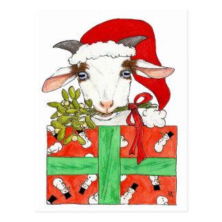 Postal del navidad de la cabra de Nicole Janes