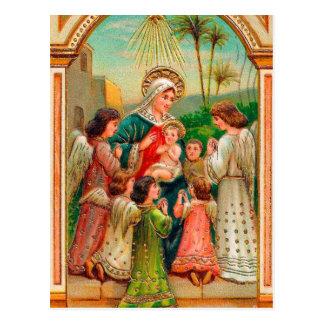 Postal del navidad de los ángeles del bebé de