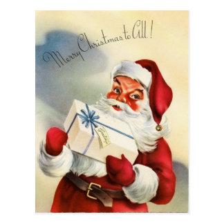 Postal del navidad de Papá Noel del vintage