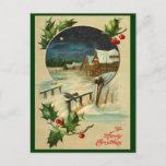 Postal del navidad del acebo del vintage
