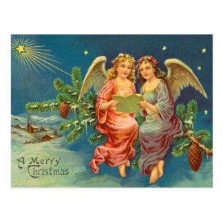 Postal del navidad del ángel del Victorian