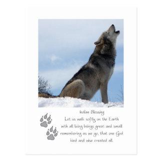 Postal del navidad del lobo