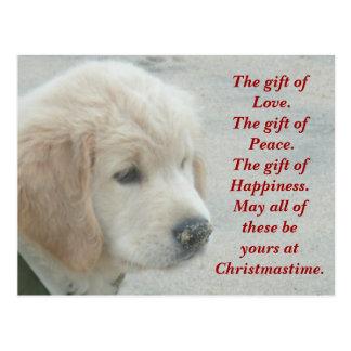 Postal del navidad del perrito del perro del