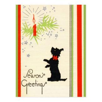 Postal del navidad del perro del escocés del