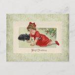 postal del navidad del victorian del vintage