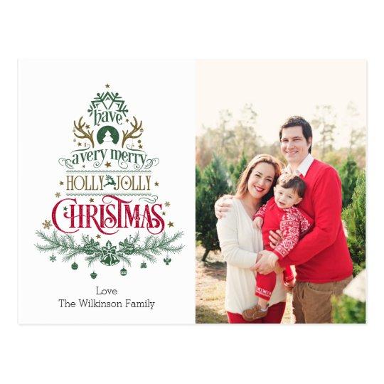 Postal del navidad - navidad alegre del acebo