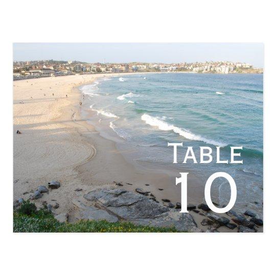 Postal del número de la tabla de la playa