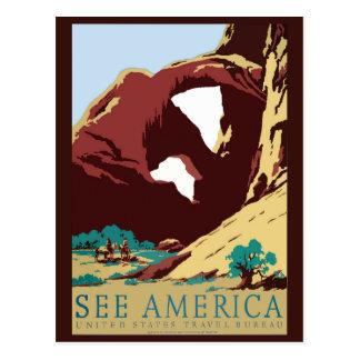 Postal del oeste del viaje del vintage de América