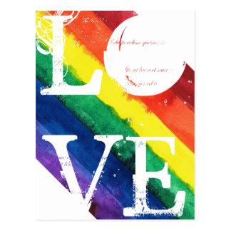 Postal del orgullo gay con la bandera del arco