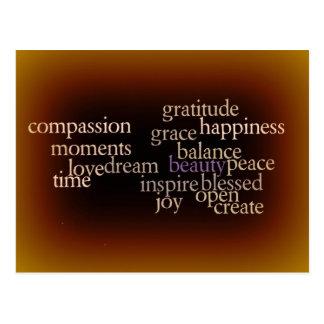 Postal del oro de la alegría y de la gratitud