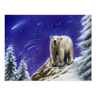 Postal del oso polar de la aurora boreal