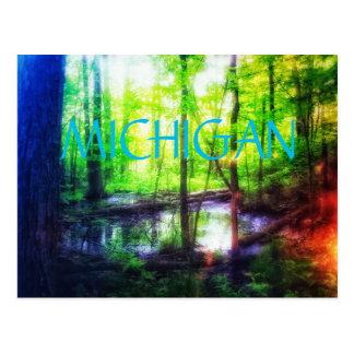 Postal del pantano del bosque de Michigan
