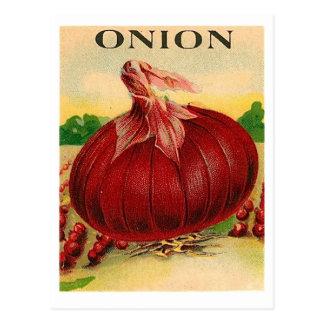 postal del paquete de la semilla de la cebolla