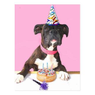 Postal del perro del boxeador del feliz cumpleaños