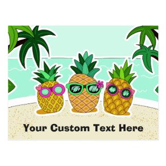 Postal del personalizado de las piñas de la playa