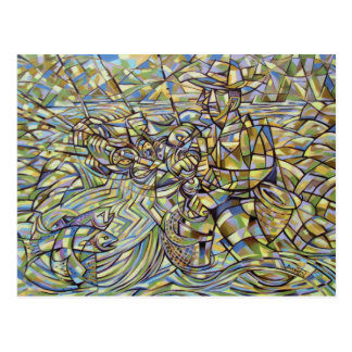 Postal del pescador de la pesca con mosca
