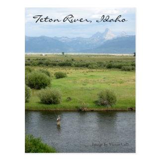 Postal del pescador del río de Teton, Idaho