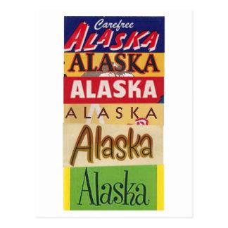 Postal del poster del viaje de Alaska del vintage
