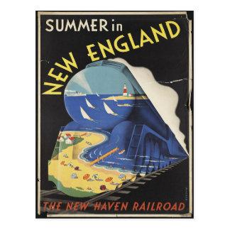 Postal del poster del viaje de Nueva Inglaterra