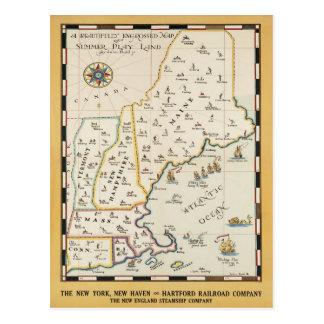 Postal del poster del viaje del mapa de Nueva