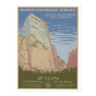 Postal del poster del vintage del parque nacional