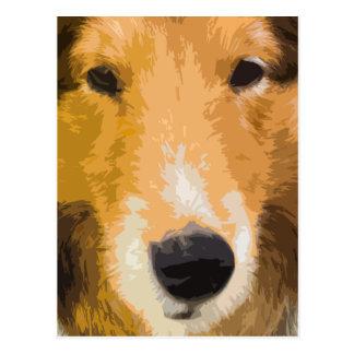 Postal del primer del perro pastor de Shetland